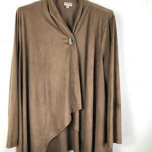 AVENUE SUEDE PONCHO BROWN LONG SLEEVES SIZE 18/20